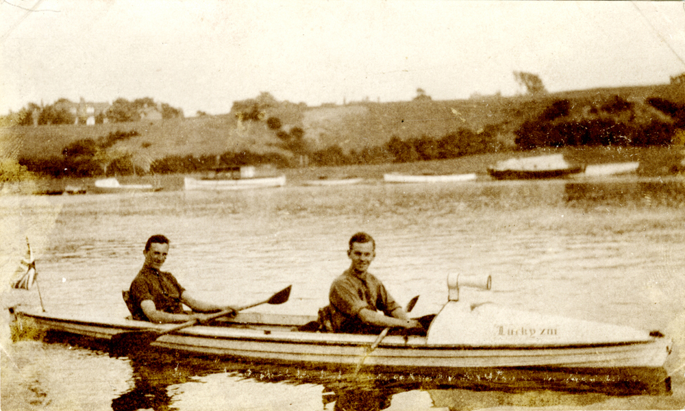 Regge & Pat in their kayak, Lucky 13, on the river Dee, Chester